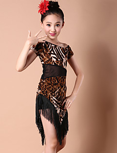 Latin Dance Dresses Children's Performance Spandex / Milk Fiber Tassel(s) 1 Piece Zebra / Tiger Stripes Latin Dance Dress