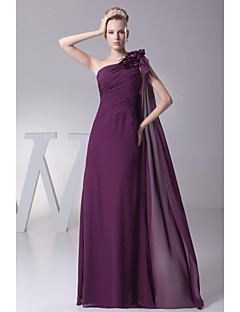 Lanting Floor-length Chiffon Bridesmaid Dress - Grape Ball Gown Notched