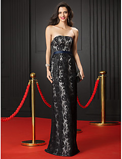 TS Couture Formal Evening Dress - Black Sheath/Column Strapless Floor-length Lace