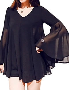 Women's Flare Sleeve Casual/Daily Plus Size Summer Blouse,Solid V Neck Long Sleeve Black Polyester Thin