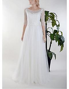 시스 / 칼럼 웨딩 드레스 바닥 길이 스쿱 레이스 / 튤 와 레이스