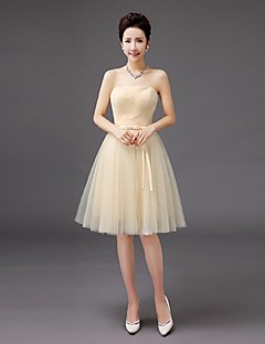 Knee-length Tulle Bridesmaid Dress A-line Strapless with Bow(s)