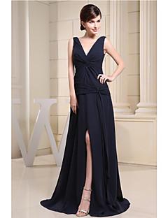 Floor-length Chiffon Bridesmaid Dress A-line V-neck with Side Draping / Split Front
