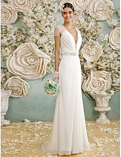 LAN TING BRIDE A-line Wedding Dress See-Through Floor-length V-neck Chiffon Lace with Bow Button Crystal Lace Sash / Ribbon