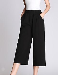 Mulheres Calças Casual / Simples Perna larga Algodão Micro-Elástica Mulheres