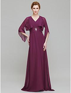 Lanting Sheath/Column Mother of the Bride Dress - Grape Floor-length 3/4 Length Sleeve Chiffon