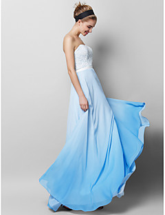 Sheath / Column Strapless Floor Length Chiffon Lace Prom Formal Evening Dress with Lace by TS Couture®