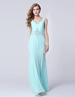 포멀 이브닝 드레스 시스 / 칼럼 V-넥 발목 길이 튤 와 비즈 / 크리스탈 디테일