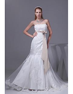 Trumpet/Mermaid Wedding Dress-Ivory Chapel Train Strapless Organza / Satin