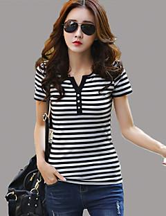 Women's Striped Red / White / Black / Gray T-shirt,V Neck Short Sleeve
