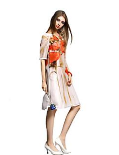 Robe Aux femmes Ample Simple,Fleur Col en V Au dessus du genou Polyester