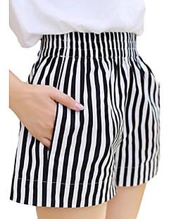 Damskie Rozmiar plus Spodnie szerokie nogawki Jeansy Spodnie,Codzienne Prążki Wysoki stan Elastyczność Polyester Nieelastyczne lato