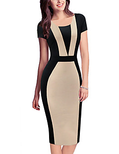 Women's Vintage / Simple / Cute / Street chic Patchwork A Line / Bodycon Dress,Round Neck Knee-length Cotton / Polyester