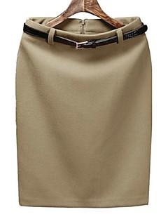 Damen Röcke - Arbeit / Leger Knielang Baumwolle / Polyester Mikro-elastisch