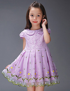 A-line Knee-length Flower Girl Dress - Chiffon / Lace / Stretch Satin Short Sleeve Jewel with