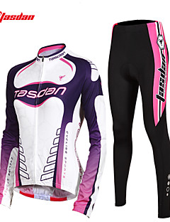 TASDAN חולצה וטייץ לרכיבה לנשים שרוול ארוך אופניים נושם ייבוש מהיר כיס אחורי תומך זיעה 3D לוח רצועות מחזירי אורטייץ רכיבה על אופניים