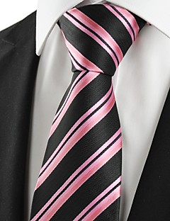 KissTies Men's Striped Pink Black Microfiber Tie Necktie For Wedding Party Holiday With Gift Box