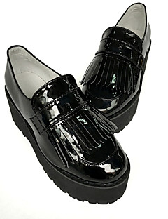 Handmade Custom Black Tassel Slope With High-Heeled Shoes Heel Height 6CM