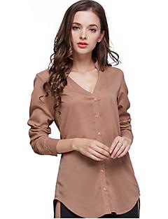 Enfärgad Långärmad Skjorta Kvinnors V-hals Polyester