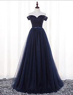 Floor-length Satin / Tulle Bridesmaid Dress-Dark Navy A-line Off-the-shoulder