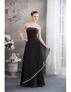 포멀 이브닝 드레스 A-라인 스파게티 스트랩 바닥 길이 쉬폰 와 옆면 드레이핑