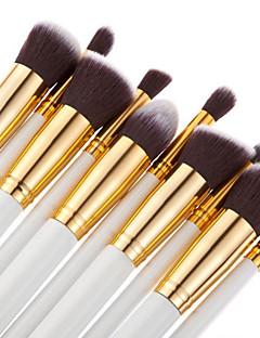10PCS Professional Makeup Brushes Set Pink/White/Black Powder Blush Eyeshadow Brush Gold/Silver Tube Brush