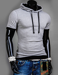 Men's Short Sleeve Pullover Tracksuits Hoodie & Sweatshirt,Cotton / Polyester Solid Casual Sport Outerwear Coat
