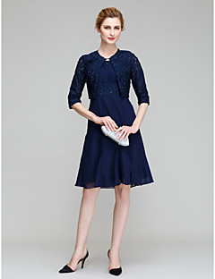 Lanting A-line Mother of the Bride Dress - Dark Navy Knee-length Half Sleeve Chiffon / Lace