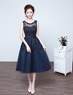 A-Line Scoop Neck Tea Length Tulle Cocktail Party Dress with Beading
