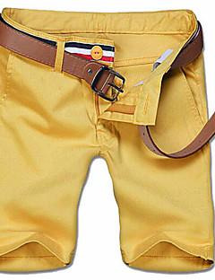 אנשיו של מכנס קצר (שורט) חלק כותנה / פוליאסטר יום יומי / מידות גדולות כחול / לבן / צהוב / בז'
