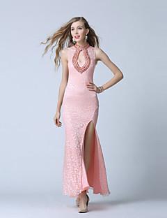 포멀 이브닝 드레스-블러슁 핑크 트럼펫/머메이드 발목 길이 V-넥 레이스 / 튤