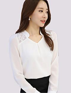 Mulheres Blusa Casual Plus Sizes Todas as Estações,Sólido Branco Poliéster Decote V Manga Longa Fina