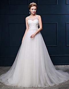Princesse Robe de Mariage  Traîne Tribunal Décolleté Coton / Dentelle / Tulle avec Dentelle / Perlage / Bouton / Brodée