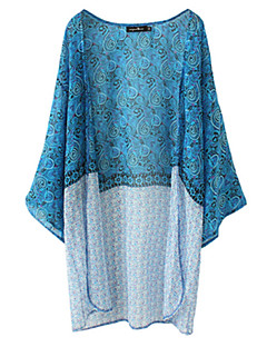 Women's Color Block Blue Shirt,Round Neck ½ Length Sleeve