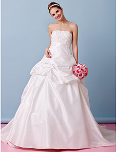 Lanting Bride A-line Wedding Dress-Court Train Strapless Taffeta