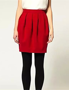 Women's Solid Red Skirts,Street chic Above Knee