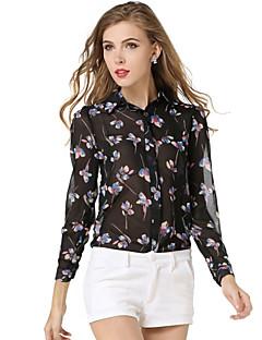 Polyester Sort Tynn Langermet,Skjortekrage Skjorte Blomstret Alle sesonger Gatemote Fritid/hverdag Kvinner