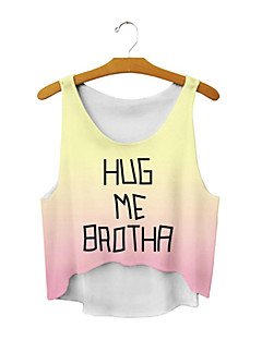 ALL BLUE High Quality Women Personality Irregular 3D Printed Sleeveless Vest Cute T-Shirts - Yellow Becomes Pink Letter