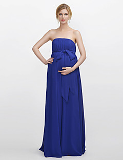 Sheath / Column Strapless Floor Length Chiffon Bridesmaid Dress with Draping Sash / Ribbon