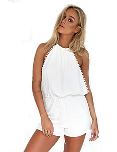 Women's Patchwork White Jumpsuits,Sexy / Casual / Day V Neck Sleeveless