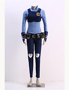 Inspiré par Zootopia Judy Anime Costumes Cosplay Costumes Cosplay Imprimé BleuChemise / Plastron / Pantalons / Gants / Ceinture /
