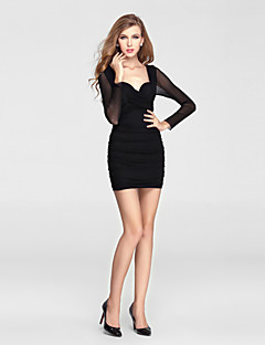 Formal Evening Dress-Black Sheath/Column V-neck Short/Mini Charmeuse / Polyester