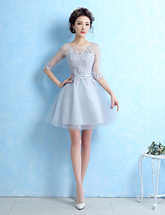 Cocktail Party Dress-Silver Ball Gown Jewel Short/Mini Lace