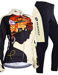 Nuckily Calça com Camisa para Ciclismo Homens Mulheres Manga Longa Moto braço aquecedores Conjuntos de Roupas Térmico/Quente A Prova de