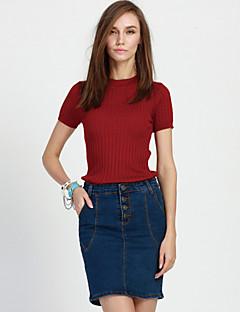 מעל הברך-דק-סגנון-חצאית(כותנה / פוליאסטר)