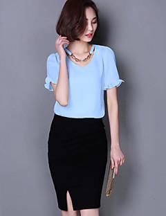 Женский Однотонный Блуза Круглый вырез,С короткими рукавами,Полиэстер