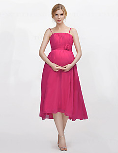 Tea-length Chiffon Bridesmaid Dress A-line Spaghetti Straps with Draping / Flower(s)