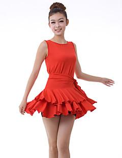 Latin Dance Dresses Women's Training Milk Fiber Draped / Ruffles 2 Pieces Black / Dark Purple / Red Latin Dance Sleeveless NaturalDress /