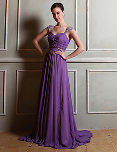 Floor-length Straps Bridesmaid Dress - Elegant Sleeveless Chiffon