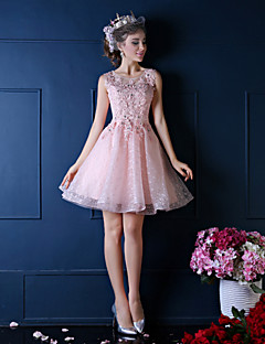 Ball Gown Notched Knee Length Lace Cocktail Party Dress with Beading